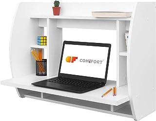 comprar comparacion COMIFORT Escritorio Colgante - Mesa de Pared con Librería de Estructura Firme, Moderna y Minimalista con Baldas Espaciosas...
