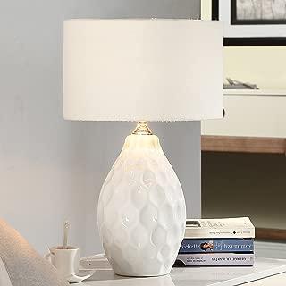 American Ceramic Table Lamp Bedroom Bedside Lamp, Study Living Room Simple Modern,Warm,Blue,H48CMW30CM Bedside Desk Light (Color : White-3)