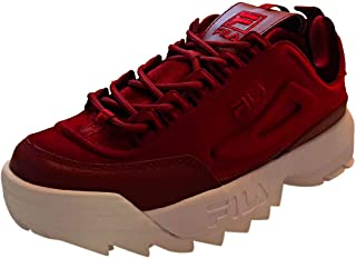 0f566eef7b Fila Disruptor Ii Premium Velour Womens Platform Trainers in Red White - 3  UK