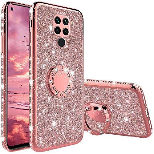 XTCASE Funda para Xiaomi Redmi Note 9 Glitter, Diamante Brillo Carcasa 360 Grados Soporte Anillo Giratorio Resistente de Gel Silicona TPU Anti-Rasguños Bling Cover - Rosa
