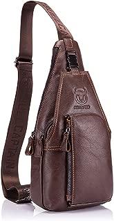 Bolso Hombres de pecho, Charminer Cuero genuino Crossbody Bolso de hombro Bolsos de mochila Mochila Messenger Bag Daypack para el negocio Casual Sport Hiking Travel Brown marrón