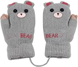 Baby Boys Girls Winter Knit Gloves Cute Bear Thick Plush Liner Gloves with String Windproof Warmer Mittens