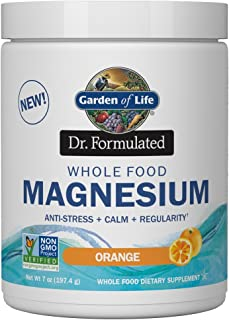 Garden of Life Dr. Formulated Whole Food Magnesium 197.4g Powder - Orange, Chelated, Non-GMO, Vegan, Kosher, Gluten & Sugar Free Supplement with Probiotics - Best for Anti-Stress, Calm & Regularity