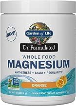 Garden of Life Dr. Formulated Whole Food Magnesium 197.4g Powder - Orange, Chelated, Non-GMO, Vegan, Kosher, Gluten & Sugar Free Supplement with Probiotics - Best for Anti-Stress, Calm & Regularity