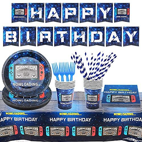 Video Game Party Supplies Vajilla Fiesta de Cumpleaños Decoraciones Fiesta Infantil Accesorios...