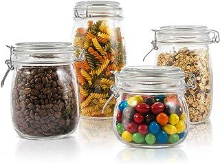 Masthome 4 Piezas Recipientes de Almacenamiento de Alimentos con Tapas,Tarros de Cristal Herméticos,Botes de Cristal Transparente,sin BPA,para Pasta,Conservas,Especias,Azúcares,Café, Alimentos