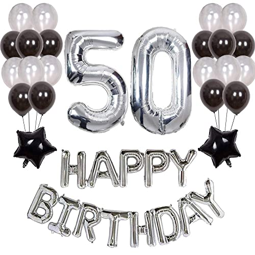 Yoart 50th Birthday Decorations Black And Silver Party Decor For Men Happy Letter Balloons