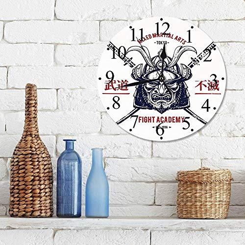 12 Zoll Wall Clock Modern Lautlos Wanduhr Japanisch, Distressed Rustic Featured Graphic Work von Top Heavy Samurai Mask Gesichtsschutz Mempo, Grau,für Wohn- /Schlaf-Kinderzimmer Büro Cafe Restaurant