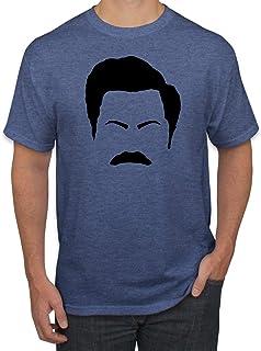 Parks and Rec Fans Ron Swanson Mustache Face Silhouette | Mens Pop Culture Graphic T-Shirt