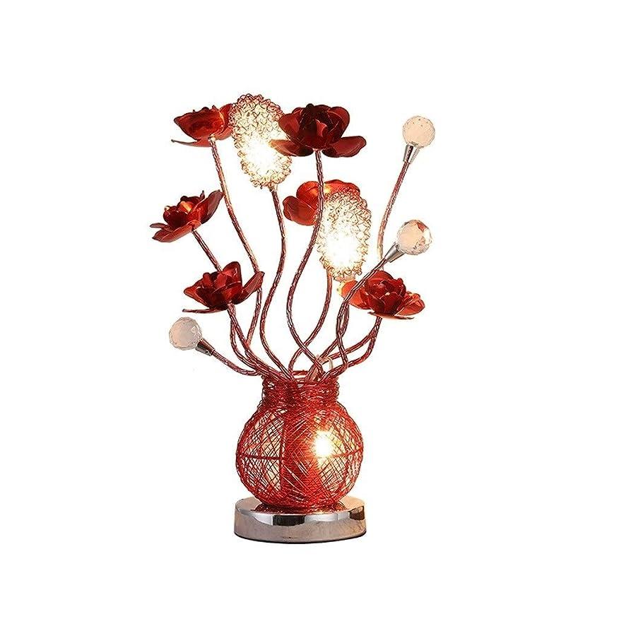 おんどり成分明らかに高品質テーブルランプ 創造的な寝室のベッドサイドクリスタルテーブルランプヨーロッパの赤いバラのギフトLEDナイトライト エネルギーを節約