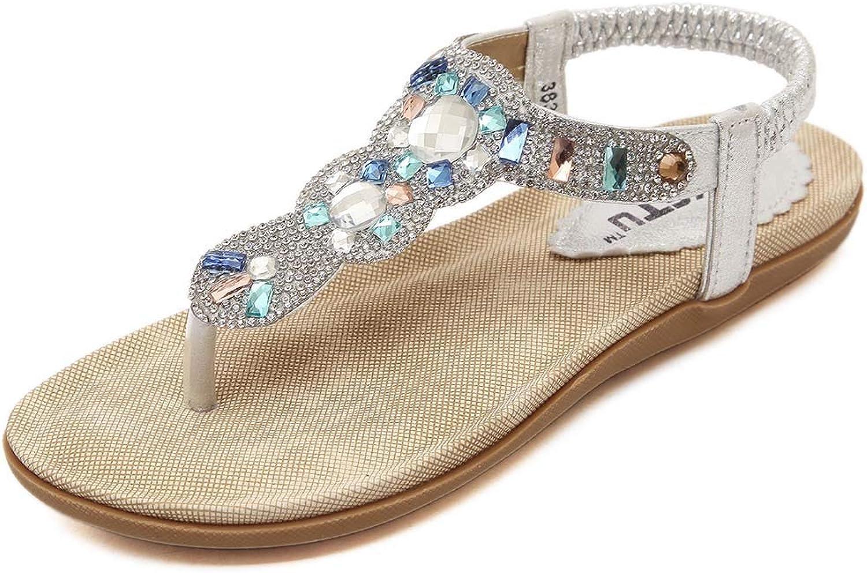 Womens Sparkle Sequin Rhinestones Bohemian Sandals T Strap Beach Casual Flat Summer Flip Flops