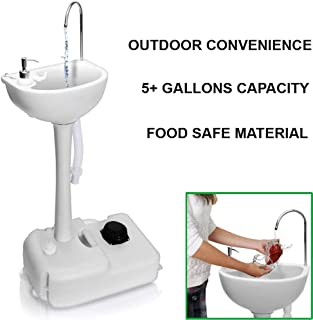 Portable Outdoor Garden Camping Sink, 5+ Gallons Portable Folding Wash Station Wheels, Towel Holder, Soap Dispenser, Hand Washing Basin Sanitary Ware RV/Kitchen/Indoor, HDPE, White