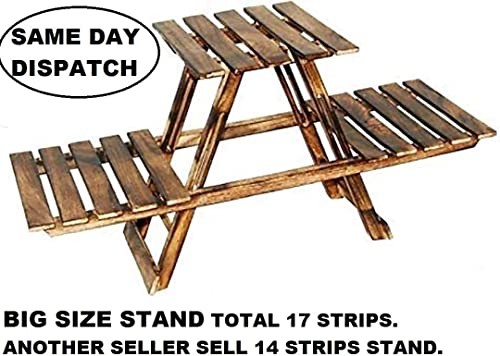 OLYMPIA SHOPPEE Vintage Wooden Multipurpose Folding Rack/Plant Stand with 3 Decks/Living Room Side Stand/Wooden Stool/Flower Pot Stand/Vase Stand Plant Stand for Garden and Outdoors (Brown 2nd) product image