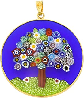 GlassOfVenice Murano Glass Millefiori Pendant Tree of Life in Gold-Plated Frame 1-