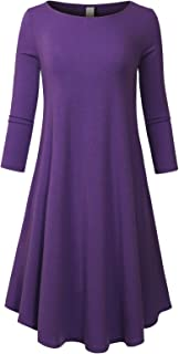 MixMatchy Women's Casual Round Neck 3/4 Sleeve A-Line Dress with Pockets