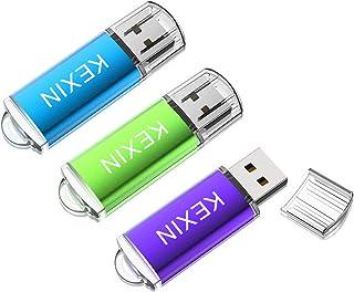 KEXIN Clés USB 32Go à Capuchon, Lot de 3 Clef USB 2.0 32 Go Muisque Flash Drive 32 Giga Fonctionne pour Ordinateurs Autora...