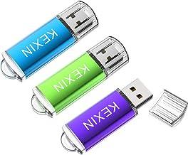 KEXIN Memoria USB 32GB 2.0 Pendrive Llave USB [3 Unidades] Memoria Flash Drive con LED Idicador para Ordenador PC Windows Mac OS ( Color de Verde/Púrpura/Azul)