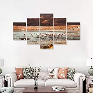 MSDEWLH 5 Lienzos Seaside Sunrise Flamingo Wall Art Animal Posters Impresiones Sala De Estar Decoración del Hogar Imágenes-200x100cm