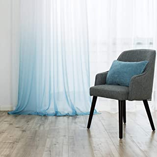 Selectex Linen Look Ombre Sheer Curtains - Rod Pocket Voile Curtains for Living and Bedroom, Set of 2 Curtain Panels (52 x 95 inch, Blue)