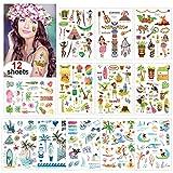 Konsait Tatuajes Temporales para Niños Niñas Adultos, Hawaiana Tropical Tatuaje Falso Pegatinas para Decoración de Fiesta de Verano, Infantiles Fiesta de cumpleaños Regalo