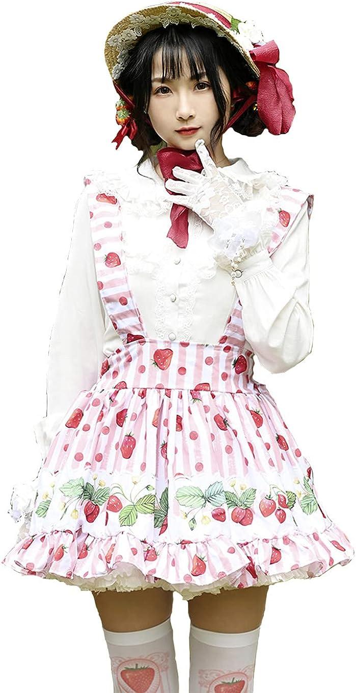 DeliverSmile Sweet Lolita SK Pink White Strawberry Flowers Print Lolita Suspender Skirts