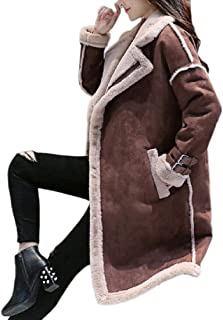 Women's Solid Lapel Faux Suede Fleece Lined Overcoat Parka Coat