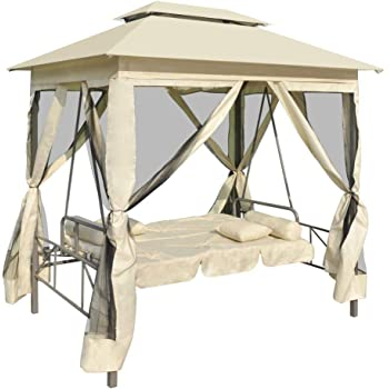Canditree Outdoor Porch Swings with Canopy, Gazebo Swing Bed with Pillows and Closed Mesh (Cream White)