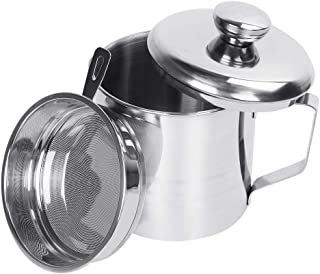 KMEIVOL Bacon Grease Container, Grease Can with Strainer Large, 1.2L/5 Cups Stainless Steel Kitchen Oil Container, Left Cooking Oil Can