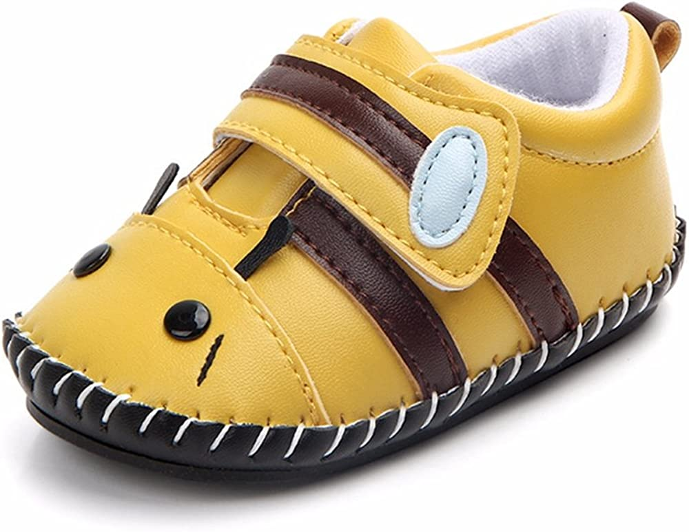 Lidiano Baby Non Slip Rubber Sole Cartoon Walking Slippers Crib Shoes Infant/Toddler (12-18 Months, Bee)