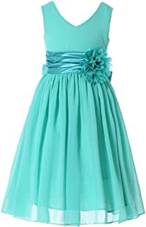 Bow Dream Junior Bridesmaids V-Neckline Chiffon Flower Girl Dress