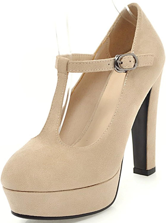 Vitalo Women's Closed Toe Platform Thick High Heels T-Strap Court shoes