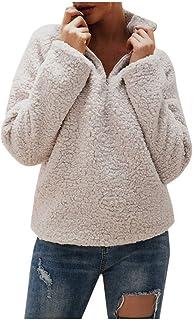 CieKen Womens Pullover Sweatshirt Half Zip Fleece Jacket Coat Outwear with Pockets