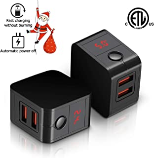USB Wall Charger Full of Intelligent Output with LCD Display, 5V/2.4A Dual 2-Port USB Wall Plug Portable Travel Power Adapter for iPhoneXs/XSMax/XR/X/8/7/Plus and More Other USB Devices(2pack)