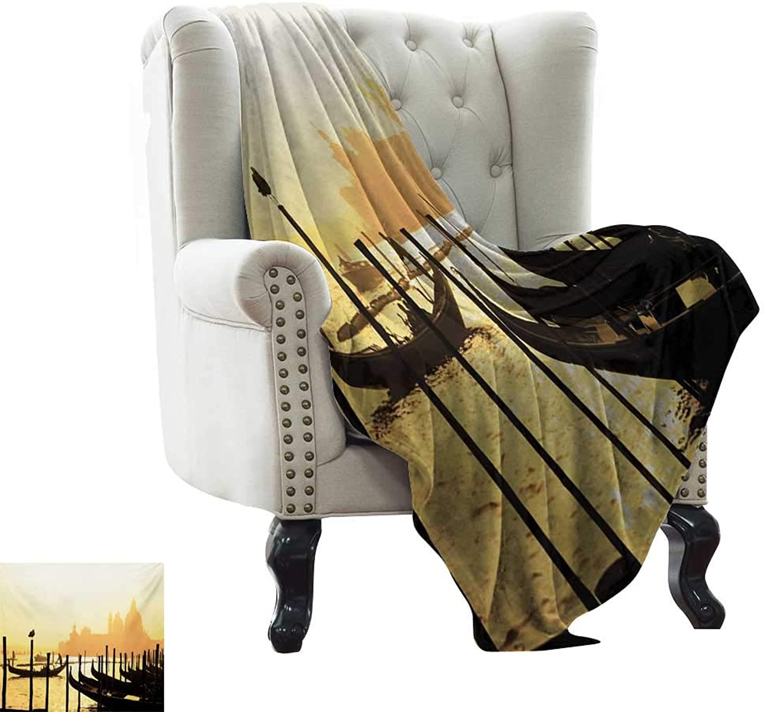 Baby Month Blanket Venice,Romantic Italian City at Sunrise Line of Gondolas Lagoon and Basilica Silhouette,Mustard Black Weighted for Adults Kids, Better Deeper Sleep 35 x60