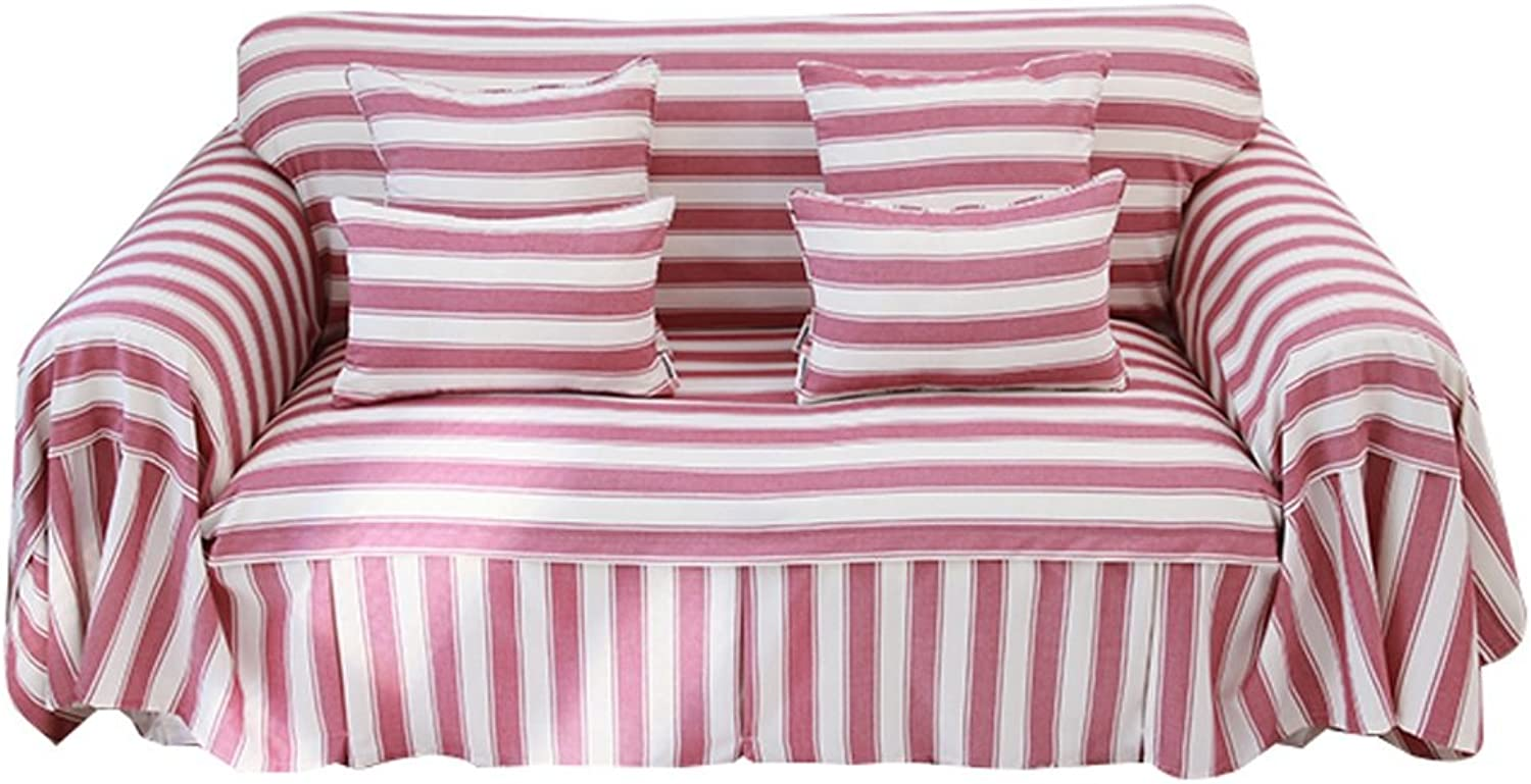 Red color Stripe Sofa Cover Thicken Cloth Gab Soft Easy Storage Full Cover Modern Simple Light and Elegant (Size   200cm200cm)