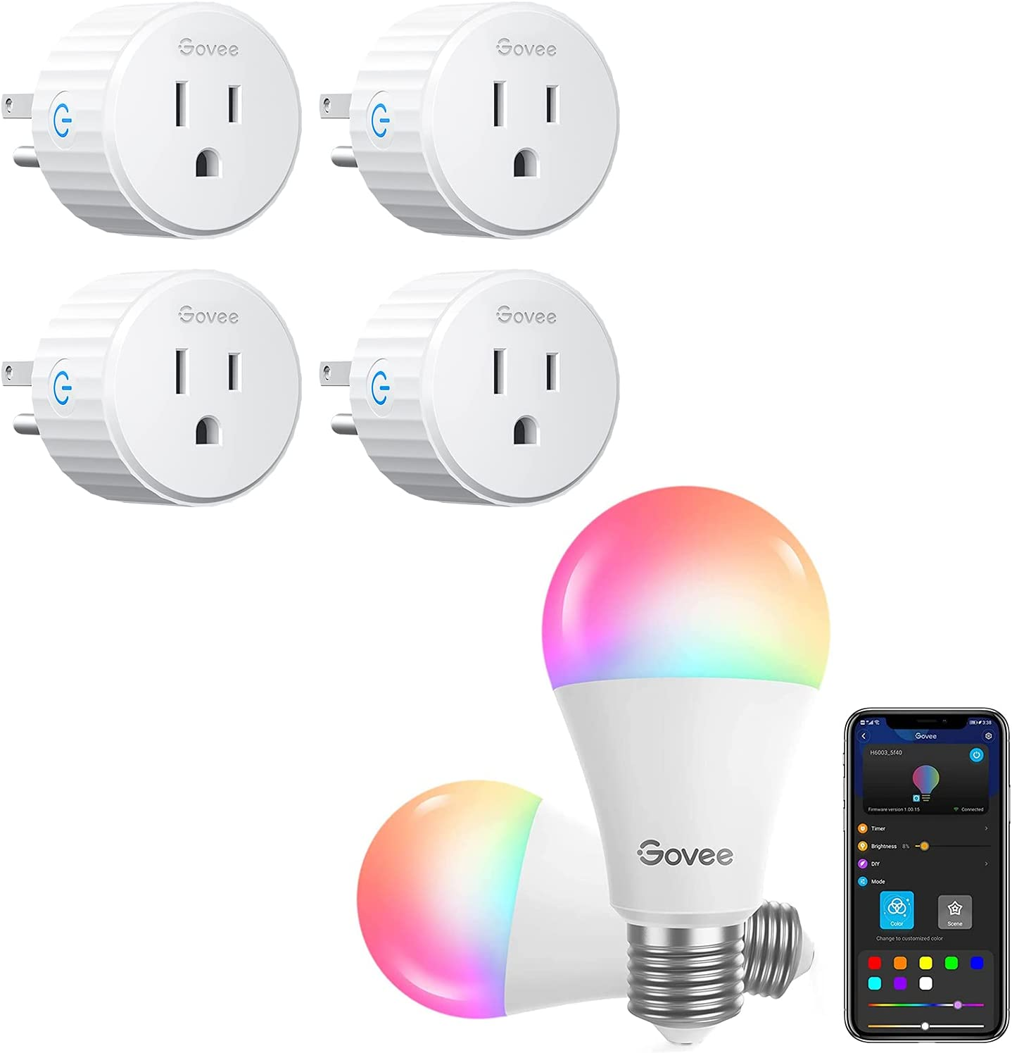 Govee Smart Light Bulbs Bundle with Govee Smart Plug, WiFi Outlet Compatible with Alexa and Google Assistant, Mini Smart Home Plugs with Timer Fuction & Group Controller