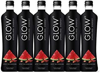 GLOW Beverages Premium Sparkling Infused Electrolyte Hydration + Caffeine Energy Drink - 6 Pack 12oz Glass - Spicy Watermelon - Vitamins & Antioxidants
