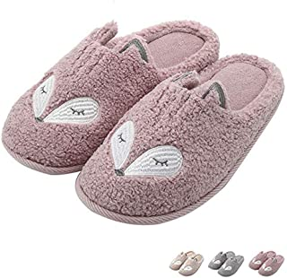 Tuiyata Cute Animal Slippers for Women Mens Winter Warm Memory Foam Cotton Home Slippers Soft Plush Fleece Slip on House S...