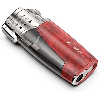 VVAY Sturmfeuerzeug Jetflamme, Jet Zigarren Feuerzeuge, 3 Flamme Sturm Zigarrenfeuerzeug Jetflame Gas Butane Nachfüllbar mit Bohrer, Windfestes (Verkauft ohne Gas)
