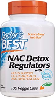 Doctor's Best Nac Detox Regulators with seleno excell, Non-GMO, Vegetarian, Gluten Free, Soy Free, 180 Veggie Caps, 180Count