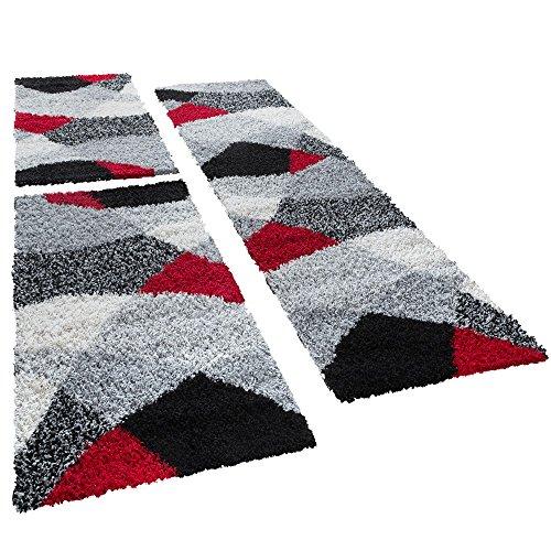 T&T Design Shaggy Camino Cuna Alfombra Vigo en Rojo Gris Negro Juego de 3, Polipropileno, 2 Mal 70x140 1 Mal 70x250 cm