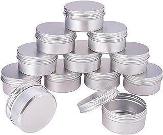 PandaHall Elite - Lot de 20 Pcs Boites de Rangement Rondes en Aluminium pour Perles Boîte Colonne Pots vides en Aluminium ...