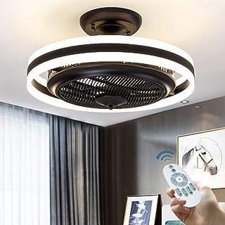 Ventilador De Techo Con Control De Luz Y Remota, Ventilador De Techo Con Luz LED Plafón Moderno Dormitorio Luz Salón Comedor, La Velocidad Del Viento Ajustable Lámpara Ultra Silencioso,Negro