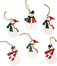 Christmas Snowman Ornament Decorations Set of 6, Wood, Painted with a Red or Green Scarf, Jute Hanger, Gift Tags