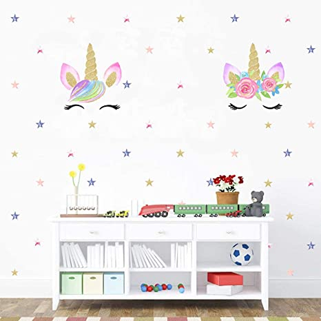Amazon Com Easu Unicorn Wall Decal Stars Wall Decal Girls Wall Decals Girls Kids Bedroom Wall Stickers Kitchen Dining