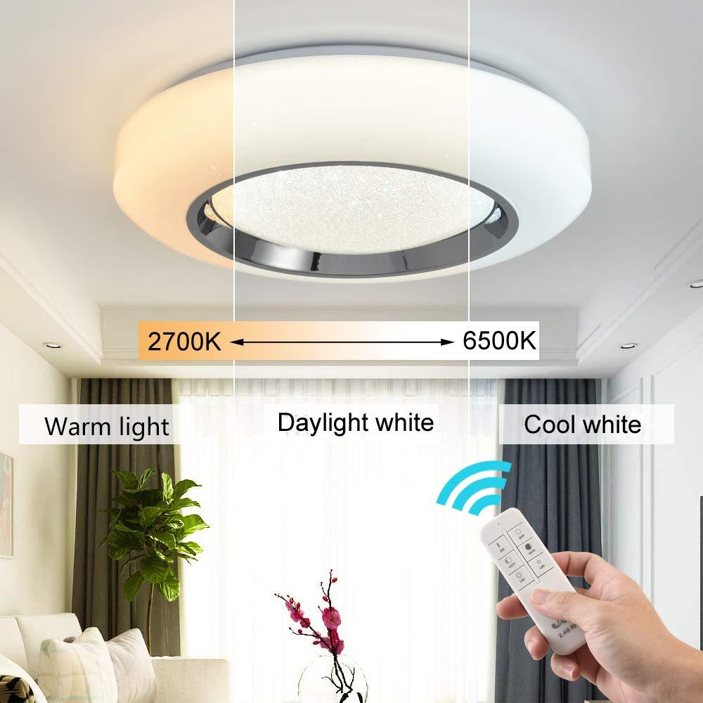 LED Deckenleuchte Dimmbar mit Fernbedienung, Moderne Wohnzimmerlampe  Deckenbeleuchtung, Super Dünn für Wohnzimmer, Schlafzimmer, Kinderzimmer,  Küche,