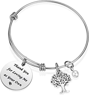 iJuqi Step Mom Bracelet Gift for Stepmom from Step Daughter Son, Thank You for Loving Me As Your Own Mother Bracelet for Christmas Birthday