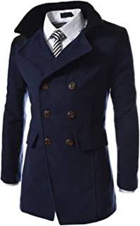 Winter Long Trench Coat Men Double Breasted Wool Blend Overcoat Jacket Size 3XL