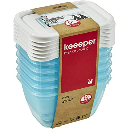 keeeper Food Containers, Set of 6, Freezable, Labelled Lid with Rewritable Surface, 6 x 250 ml, 10.5x7.5x6 cm, Mia Polar, Transparent Ice Blue