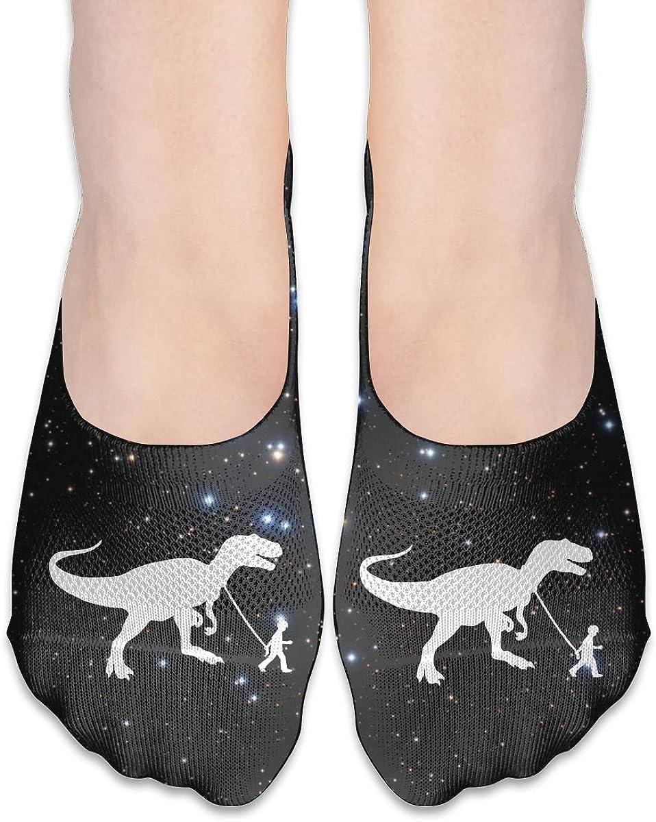 T-Rex Pet Dinosaur Fashion Non Slip Flat Boat Line Socks For Womens Girls